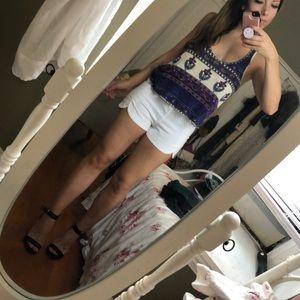 Aqua white shorts